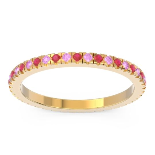Ruby Eternity Pave Kona Band with Pink Tourmaline in 14k Yellow Gold
