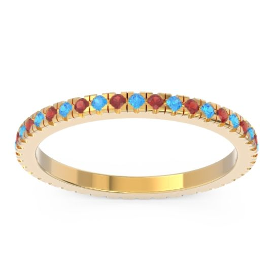 Swiss Blue Topaz Eternity Pave Kona Band with Garnet in 14k Yellow Gold