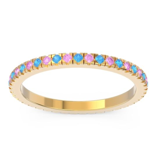 Swiss Blue Topaz Eternity Pave Kona Band with Pink Tourmaline in 18k Yellow Gold