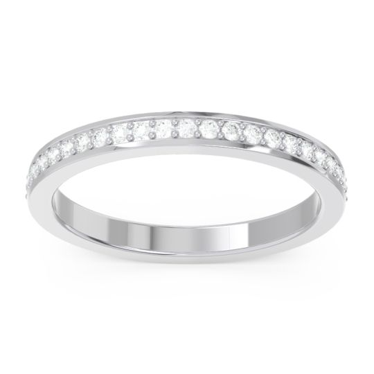 Diamond Half Eternity Pave Rodha Band in 14k White Gold