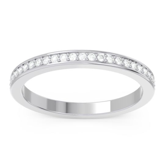Eternity Pave Rodha Diamond Band in 14k White Gold