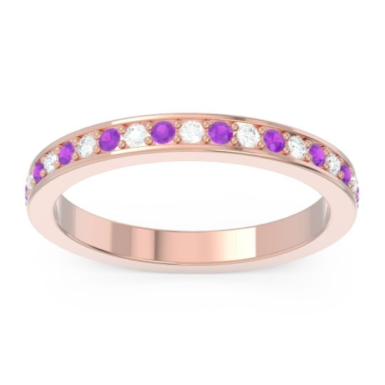 Amethyst Eternity Bhinti Band with Diamond in 14K Rose Gold