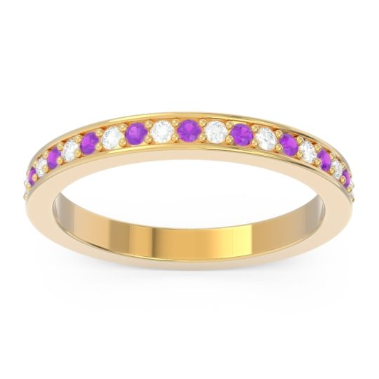 Amethyst Eternity Pave Pravrti Band with Diamond in 14k Yellow Gold