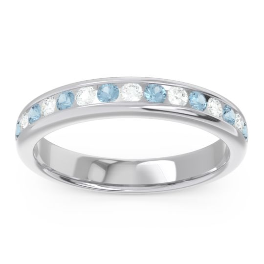 Half Eternity Channel Set Droni Aquamarine Band with Diamond in 14k White Gold