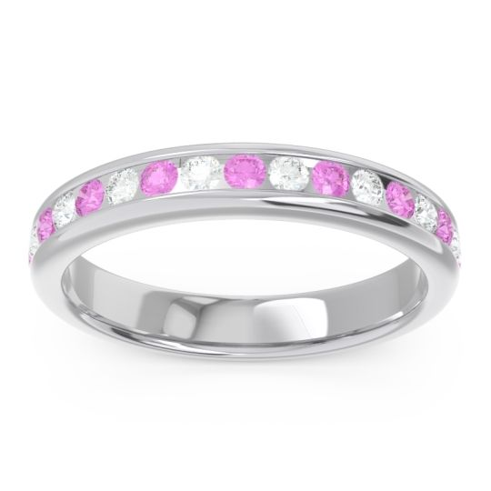 Eternity Channel Set Droni Pink Tourmaline Band with Diamond in 18k White Gold