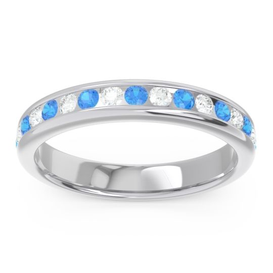 Eternity Channel Set Droni Swiss Blue Topaz Band with Diamond in 14k White Gold