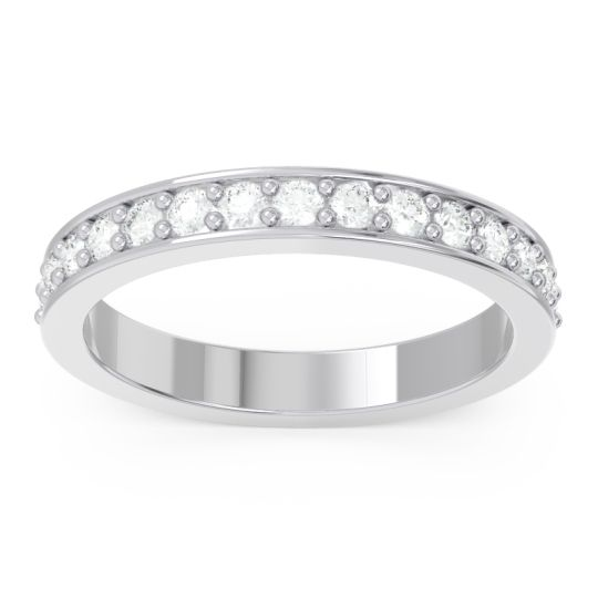 Diamond Half Eternity Pave Kutira Band in 14k White Gold