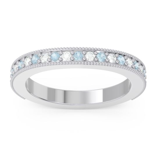 Aquamarine Three Quarter Eternity Curved Milgrain Ostha Band with Diamond in 14k White Gold