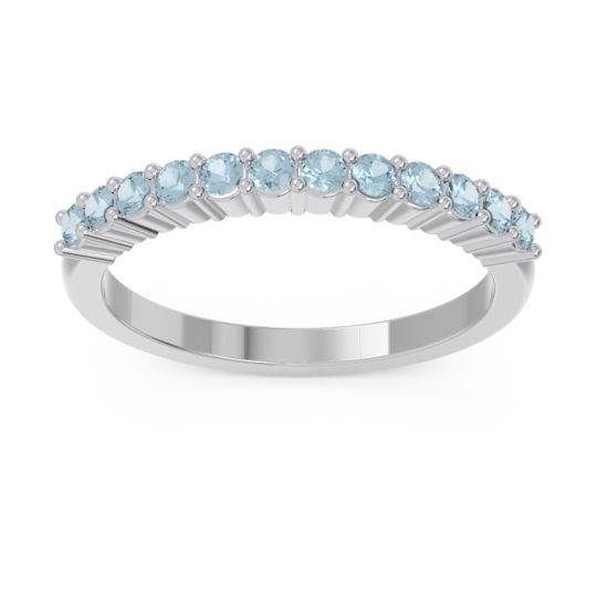 Half Eternity Pave Vartman Aquamarine Ring in 14k White Gold