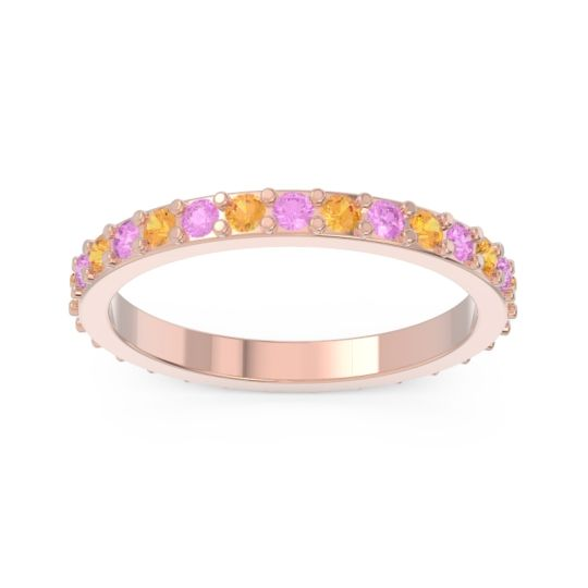 Eternity Pave Anantata Citrine Band with Pink Tourmaline in 14K Rose Gold
