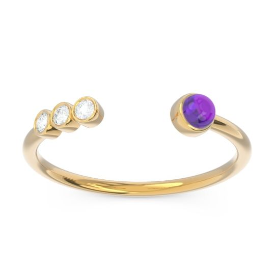Amethyst Petite Open Bezel Vigata Band with Diamond in 14k Yellow Gold