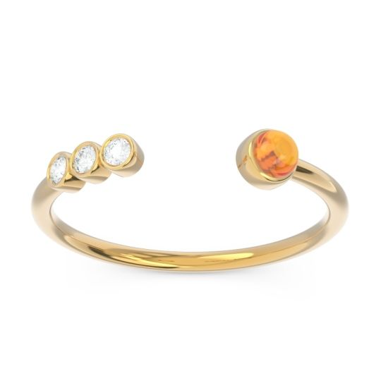 Citrine Petite Open Bezel Vigata Band with Diamond in 14k Yellow Gold