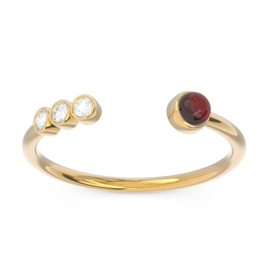 Garnet Petite Open Bezel Vigata Band with Diamond in 14k Yellow Gold