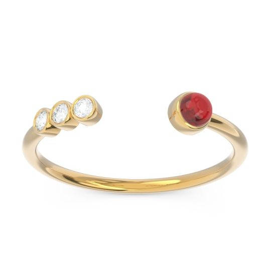 Ruby Petite Open Bezel Vigata Band with Diamond in 14k Yellow Gold