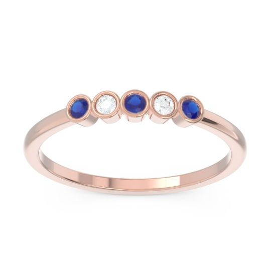 Blue Sapphire Petite Modern Bezel Pajcaka Band with Diamond in 14K Rose Gold