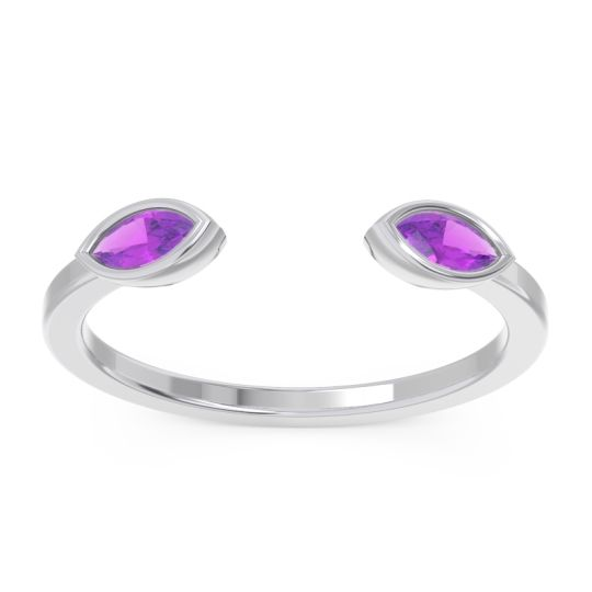 Amethyst Petite Open Bezel Marquise Drsti Band in 14k White Gold