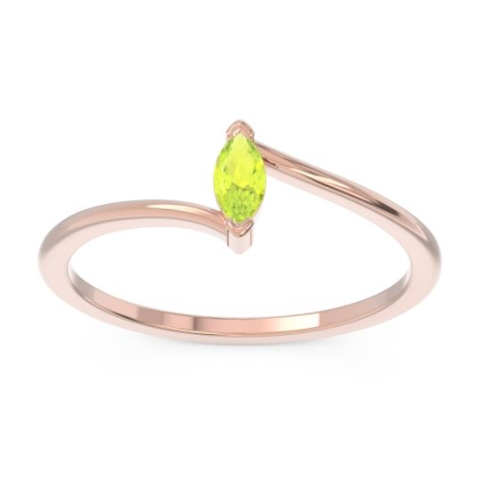 Petite Modern Bypass Marquise Netra Peridot Band in 14K Rose Gold