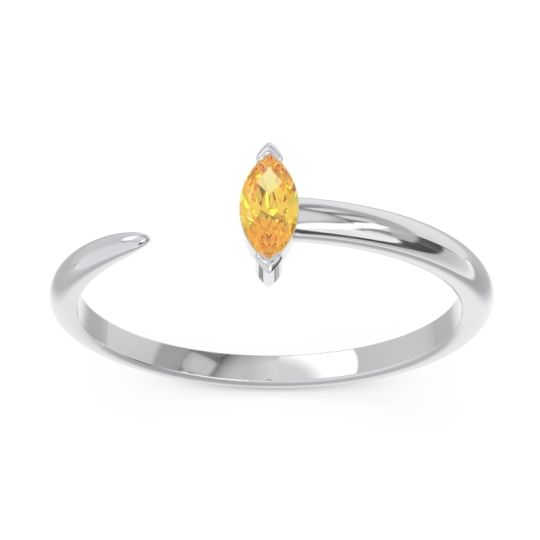 Petite Open Marquise Puccha Citrine Band in 14k White Gold