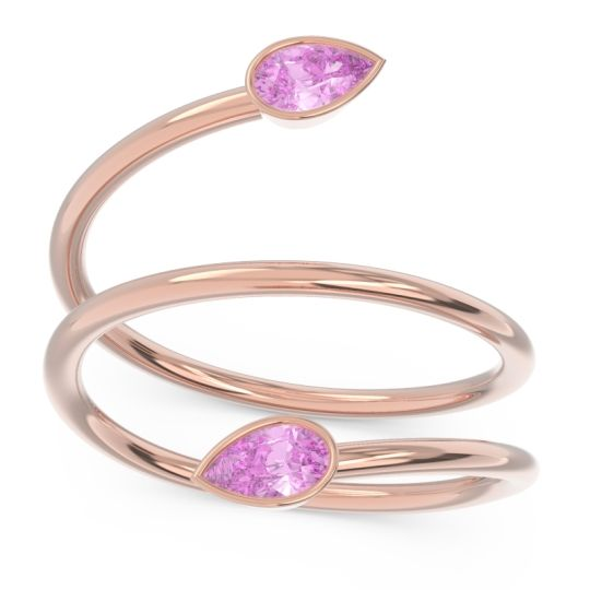 Pink Tourmaline Modern Wrap Bezel Latayate Band in 14K Rose Gold