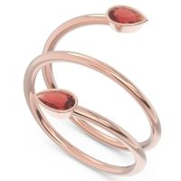 Garnet Modern Wrap Bezel Latayate Band in 14K Rose Gold