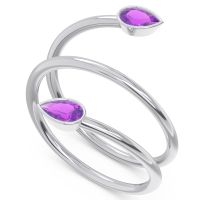Amethyst Modern Wrap Bezel Latayate Band in 14k White Gold