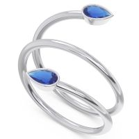 Modern Wrap Bezel Latayate Blue Sapphire Band in 14k White Gold