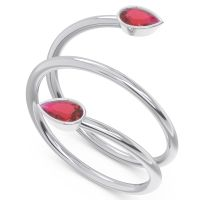 Ruby Modern Wrap Bezel Latayate Band in 18k White Gold
