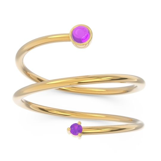 Amethyst Modern Wrap Bezel Viloma Band in 14k Yellow Gold
