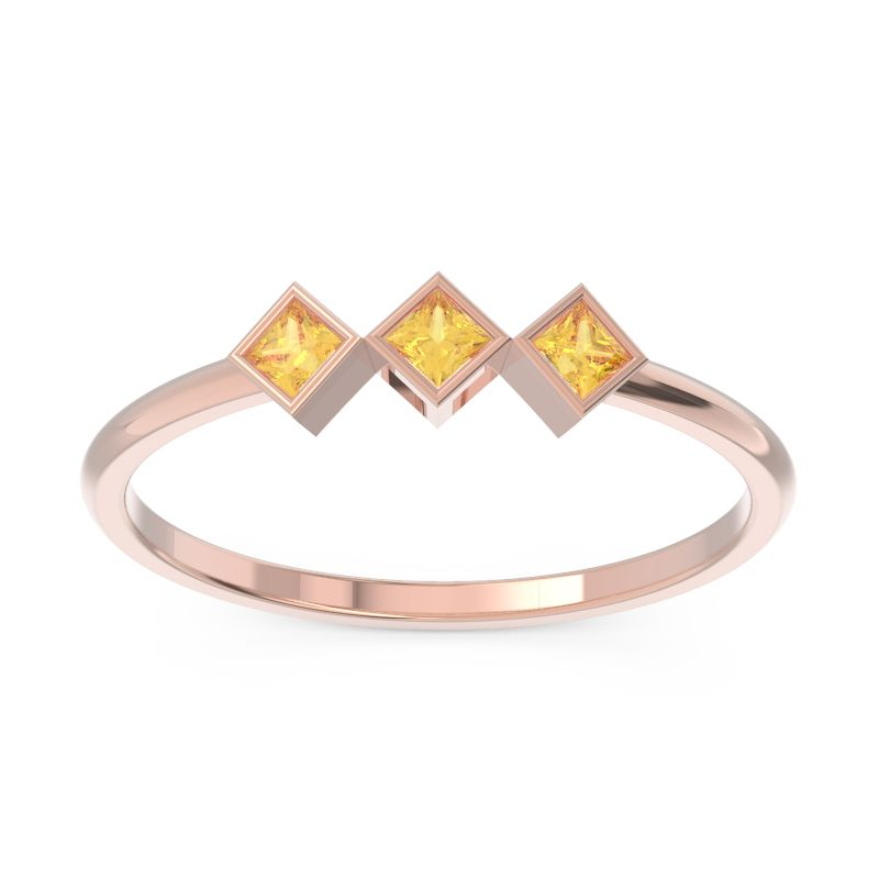 bezel set three-stone citrine ring