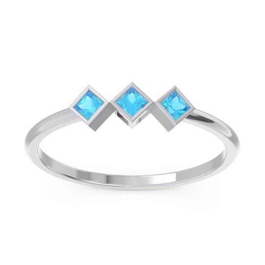 Swiss Blue Topaz Simple Bezel Princess Cut Bhavah Band in 14k White Gold
