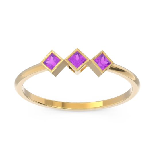 Simple Bezel Princess Cut Bhavah Amethyst Band in 14k Yellow Gold