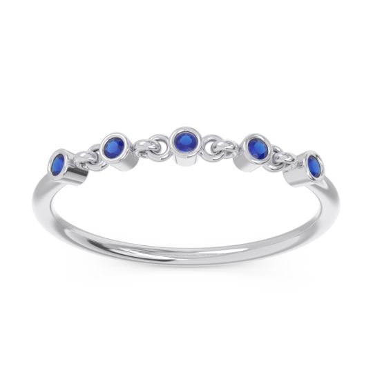 Blue Sapphire Petite Bezel Nibandhana Band in 14k White Gold