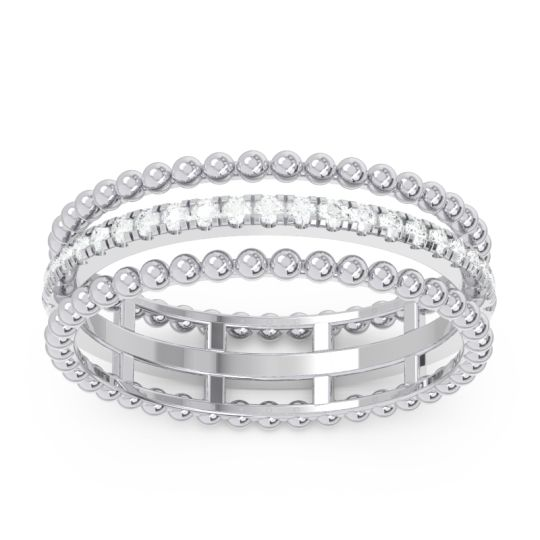 Diamond Half Eternity Triple Line Pave Zambari Band in 14k White Gold