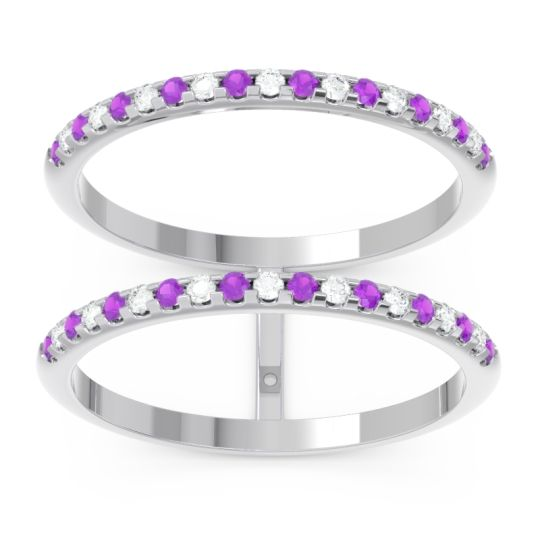 Amethyst Half Eternity Doulbe Line Pave Yugma Band with Diamond in 14k White Gold