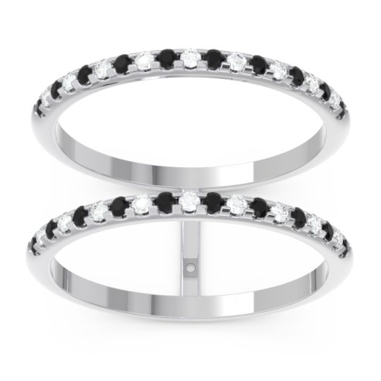 Black Onyx Half Eternity Doulbe Line Pave Yugma Band with Diamond in 14k White Gold