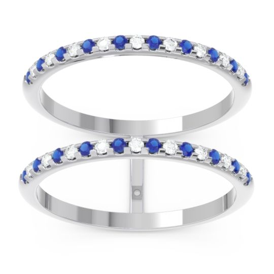Blue Sapphire Half Eternity Doulbe Line Pave Yugma Band with Diamond in 14k White Gold
