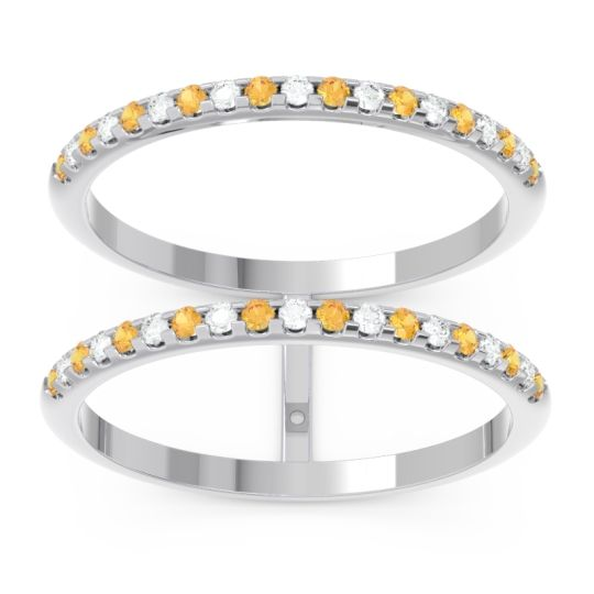 Citrine Half Eternity Doulbe Line Pave Yugma Band with Diamond in 14k White Gold