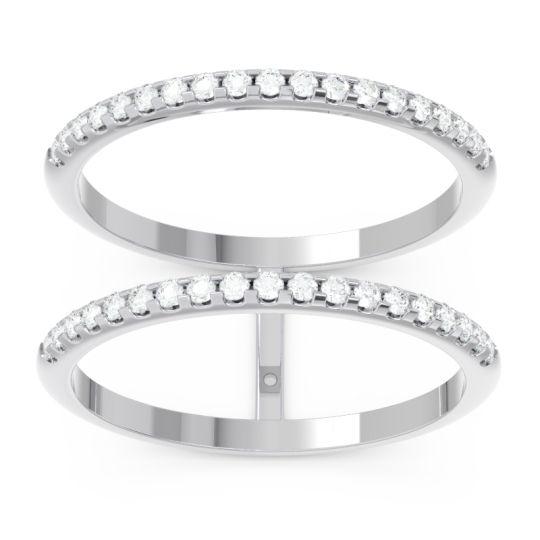 Diamond Half Eternity Doulbe Line Pave Yugma Band in 14k White Gold