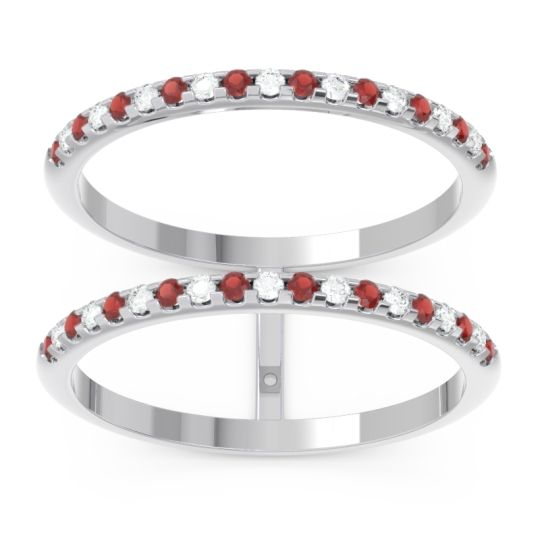 Garnet Half Eternity Doulbe Line Pave Yugma Band with Diamond in 14k White Gold