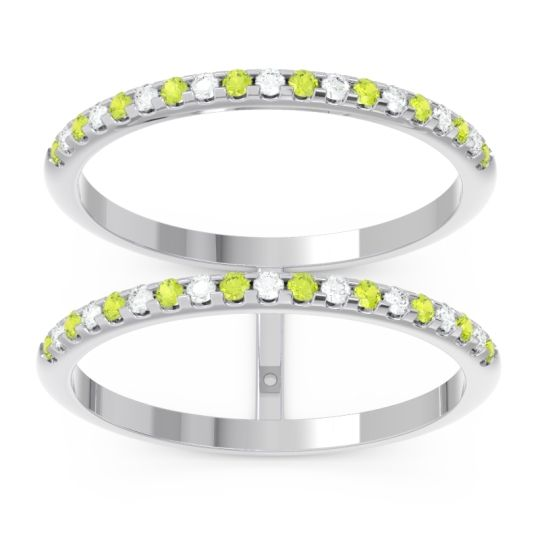 Peridot Half Eternity Doulbe Line Pave Yugma Band with Diamond in 14k White Gold