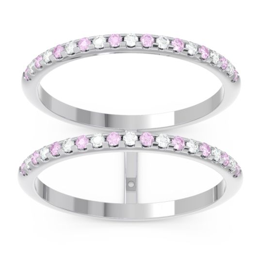 Pink Tourmaline Half Eternity Doulbe Line Pave Yugma Band with Diamond in 14k White Gold