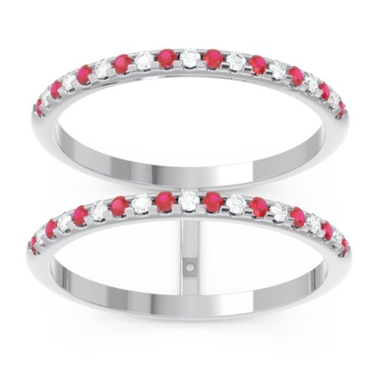 Ruby Half Eternity Doulbe Line Pave Yugma Band with Diamond in 14k White Gold