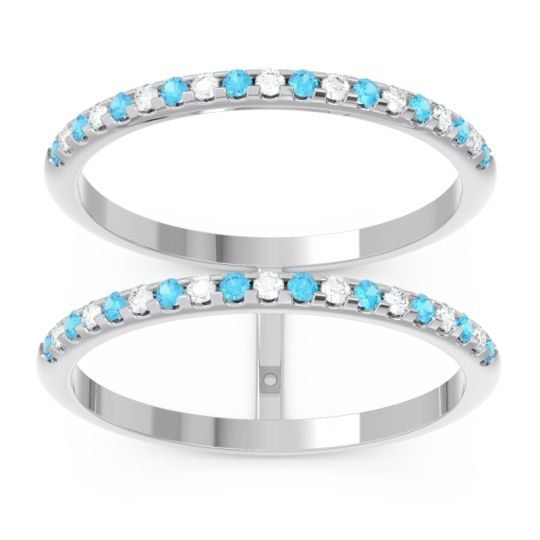 Swiss Blue Topaz Half Eternity Doulbe Line Pave Yugma Band with Diamond in 14k White Gold