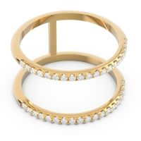 Diamond Half Eternity Doulbe Line Pave Yugma Band in 18k Yellow Gold