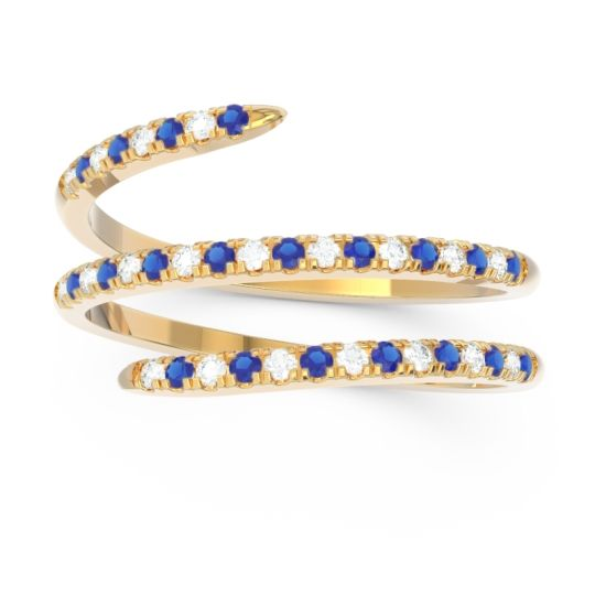 Blue Sapphire Half Eternity Wrap Pave Yatra Band with Diamond in 18k Yellow Gold