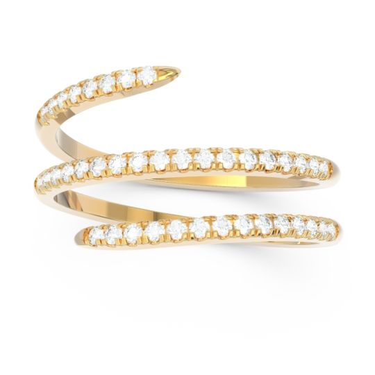 Diamond Half Eternity Wrap Pave Yatra Band in 18k Yellow Gold