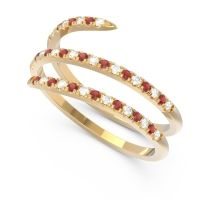 Diamond Half Eternity Wrap Pave Yatra Band with Garnet in 18k Yellow Gold