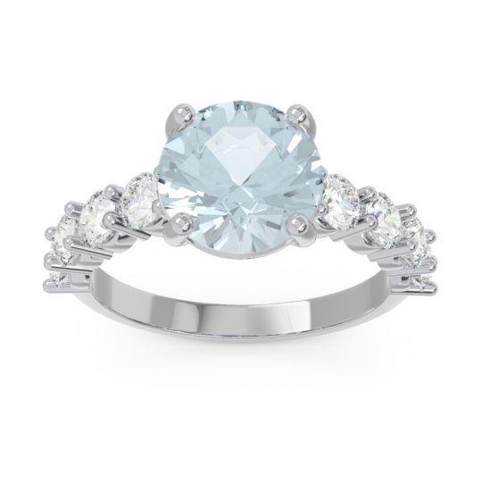 Classic Pave Bhavya Aquamarine Ring with Diamond in 14k White Gold
