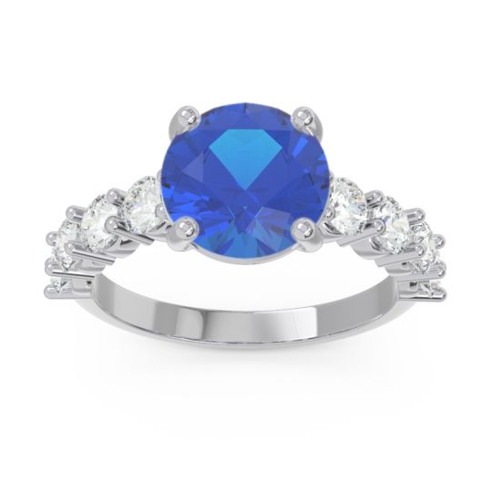 Classic Pave Bhavya Blue Sapphire Ring with Diamond in 14k White Gold