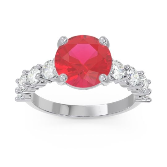 Classic Pave Bhavya Ruby Ring with Diamond in 14k White Gold
